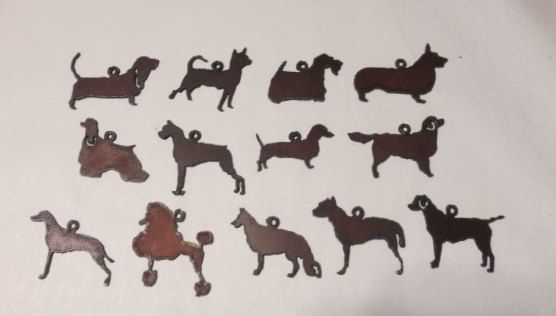 DOG BREED CHARMS - any 3  Pendants Basset Corgi Lab Dachshund Scottie Chihuahua Golden Poodle made of Rusty Rustic Recycled Metal by TheRusticBarnAZ on Etsy https://www.etsy.com/listing/164614456/dog-breed-charms-any-3-pendants-basset