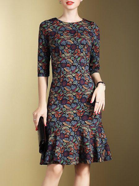 Shop Midi Dresses - Multicolor Tribal Vintage Crew Neck Midi Dress online. Discover unique designers fashion at StyleWe.com.
