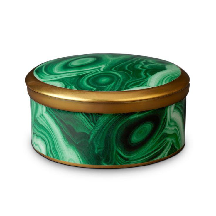 Discover the L'Objet Malachite Round Box - 13cm at Amara