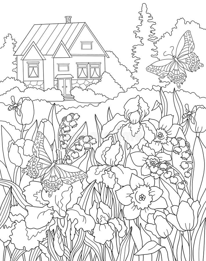 Coloring page The Secret Garden royalty free illustration ...