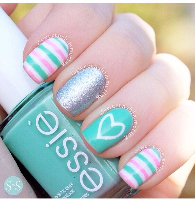 Spring mani. Turquoise nails. Heart. Pink. Stripes. Essie. Nail art - Best 25+ Turquoise Nail Art Ideas On Pinterest Turquoise Nail
