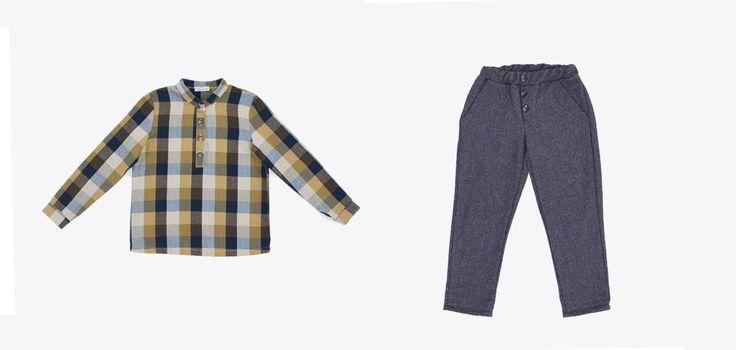 BW18202-26 Tartan shirt /blue and mustard-coloured BW18601-4 Pant /color grey