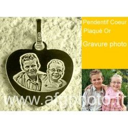 """""""Pendentif Plaqué or Coeur PM Gravure Photo PORT GRATUIT"""