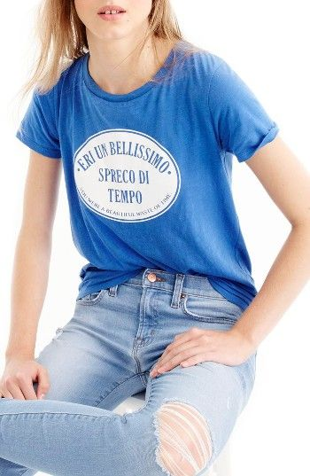 Free shipping and returns on J.Crew Spreco di Tempo Italian Travel Graphic Tee at Nordstrom.com. A boy-fit graphic tee inspired by vintage hotel-luggage labels and made totally modern with a funny Italian phrase translated to