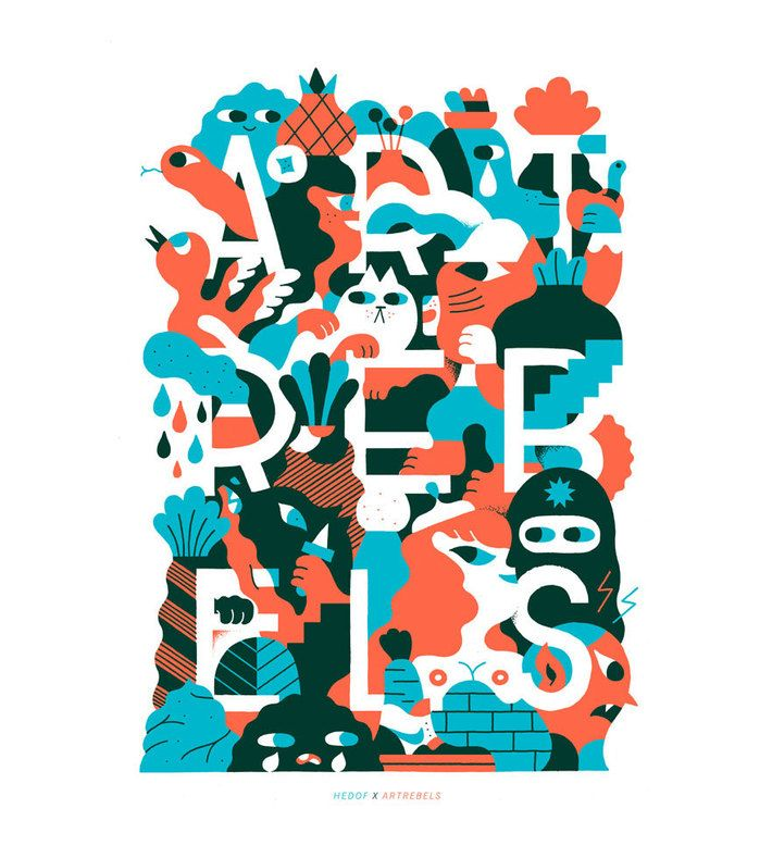 """Hedof X ArtRebels Poster 50 x 70 cm (A2 size)  Dutch artist and designer Hedof has collaborated with ArtRebels to make this poster. In the design you can find our logo and """"ARTREBELS"""" text among other cool icons. We are super proud of the way it turned out."""