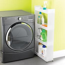 """CS- only 4"""" wide and on wheels! great for that wasted space between dryer and wall, or fridge and wall!"""