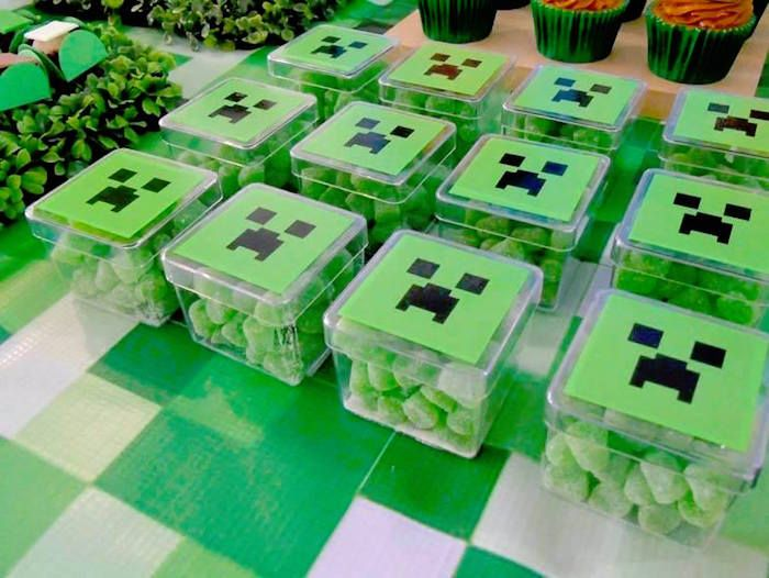 Mini Plastic Creeper Favor Boxes from a Minecraft Birthday Party via Kara's Party Ideas | KarasPartyIdeas.com (18)