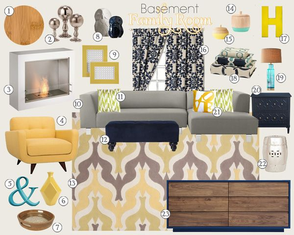 Basement Family Room Mood Board | Teal And Lime Interiors