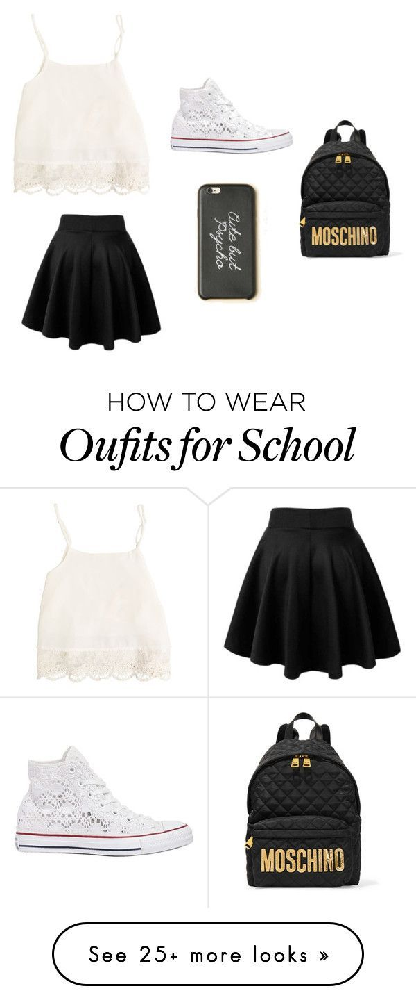"""Back to school"" by alyssa-dancer1 on Polyvore featuring Swell, Moschino, Converse, women's clothing, women's fashion, women, female, woman, misses and juniors"