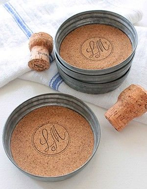 monogrammed wedding coasters made out of mason jar lids. #DIY