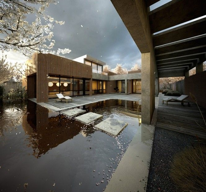 Home: Cherries Blossoms, Koi Ponds, Step Stones, Blossoms Trees, Architecture, Pools, Japan Gardens, Modern House, Modern Homes