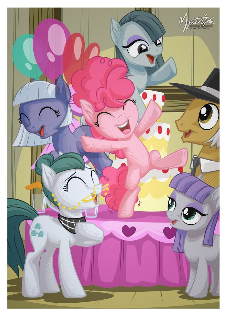 Pinkie, Inkie, Blinkie and... Maud. Well, that ruins the pacman naming theory. XD( by mysticalpha)