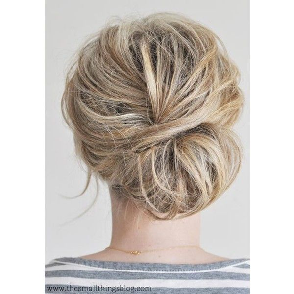 From Top Knots to Sock Buns Bun Hairstyles For Any Occasion ❤ liked on Polyvore featuring hairstyle