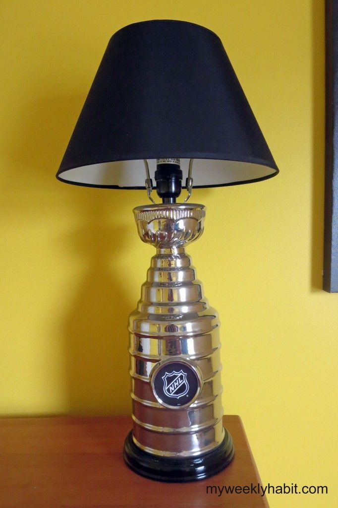 NHL Stanley Cup Lamp Boys Sports Room - boys sports bedroom - Steelers, Pirates, Penguins - See how to make a border without wallpaper and how we got a Stanley Cup to light up the room! Baseball, hockey, football