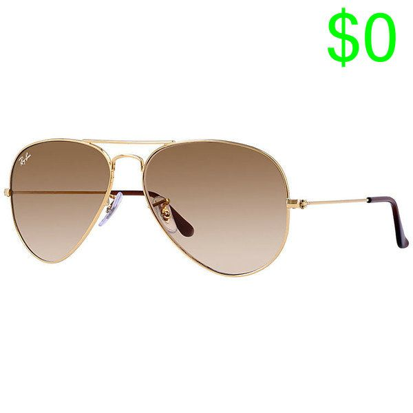 Ray-Ban Aviator Gradient Gold, Brown Lenses - Rb3025 ($165) ❤ liked on Polyvore featuring accessories, eyewear, sunglasses, gold, gold aviator glasses, gradient aviators, gradient lens sunglasses, ray ban aviator and ray ban eyewear