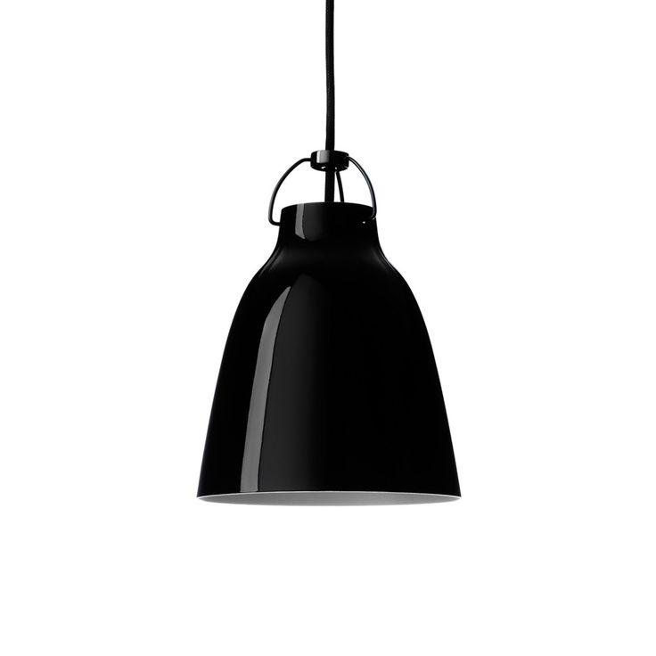 Caravaggio 1 pendel - Caravaggio 1 pendel - svart blank, svart textilsladd