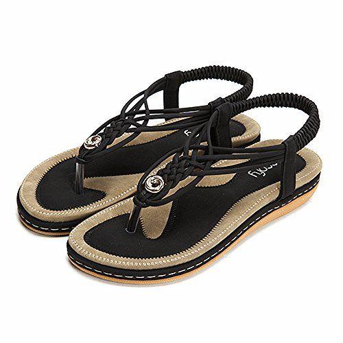 6e0164f8b Socofy Sandales Plates Femme Chaussures de Ville Été à Talons Plats ...