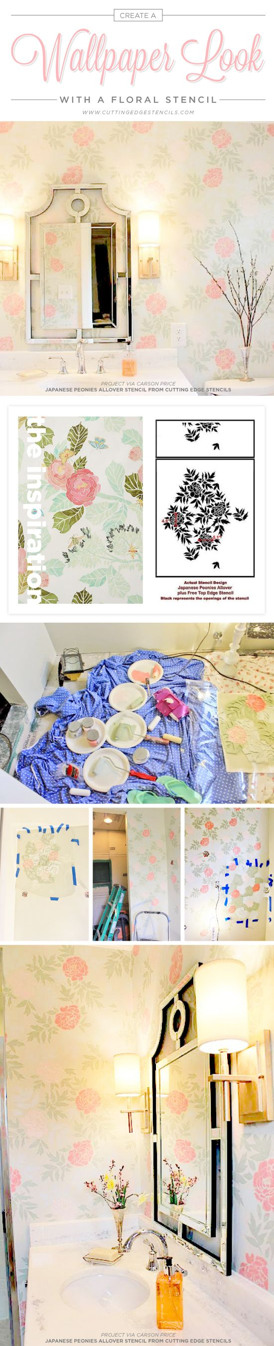 Best 25 diy stenciled walls ideas on pinterest stencil wall art cutting edge stencils shares a diy stenciled bathroom using the japanese peonies allover stencil for a amipublicfo Images