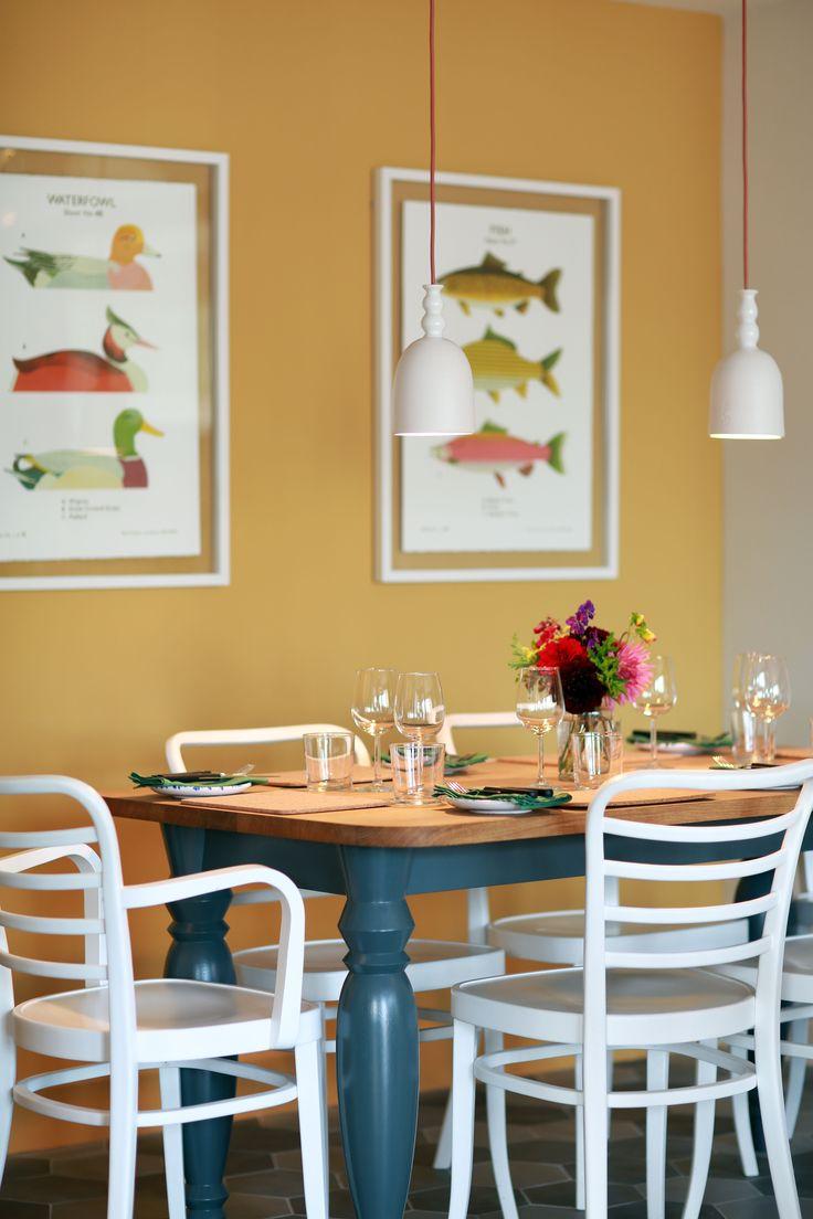 Restaurant interior.  Brassica, Beaminster Square, West Dorset, UK