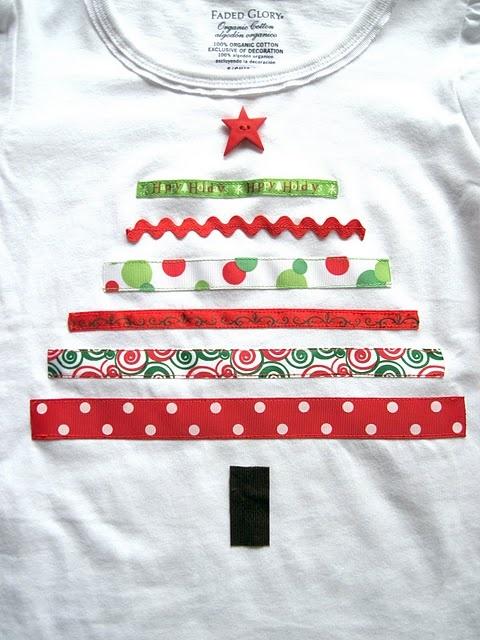 DIY crafts Ribbon Christmas shirt