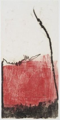 Mira Schendel,  Untitled (Red),  oil transfer drawing on thin Japanese paper, 1964