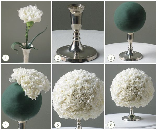 Super easy and super chic carnation centerpiece.  Anyone can put this beauty diy project together.Materials Needed:-Candlestick-Oasis floral foam sphere-Lots and lots of CarnationsDirections:1.  Start with  a candlestick.  The entire bouquet ball will sit on the candlestick. (see figure 2)2.  Use any floral foam sphere.  Soak it for 45 minutes, then drain on a paper towel. (see figure 3)3.  Work the carnations evenly around the foam sphere to distribute the