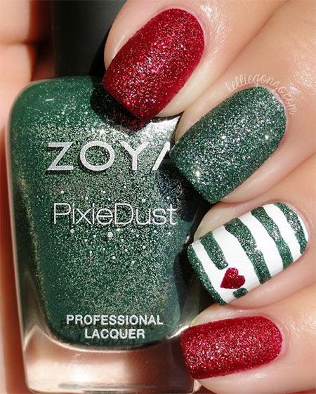 Dynamic Views Very Beautiful And Preity Nails Art Red: 24 Best Red / Green / Gold Christmas Nail Art Designs