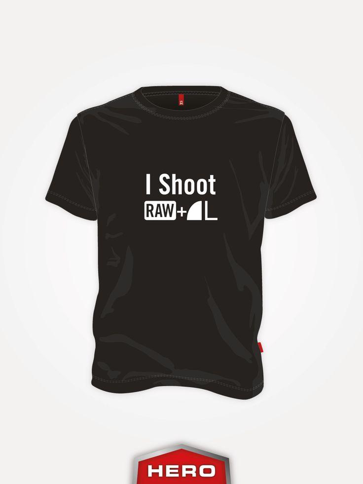 I Shoot RAW L tamsūs vyriški marškinėliai