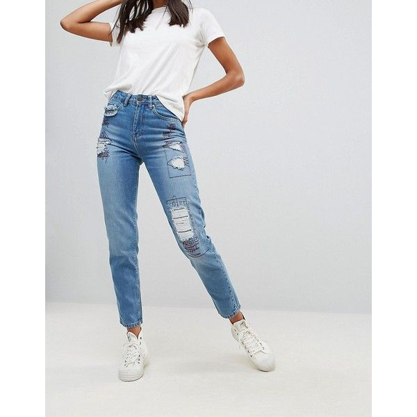 Waven Elsa Patched Mom Jeans (£32) ❤ liked on Polyvore featuring jeans, blue, blue ripped jeans, patch jeans, cropped ripped jeans, ripped jeans and blue ripped skinny jeans