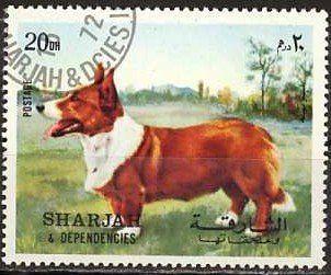 Stamp: Cardigan Welsh Corgi (Canis lupus familiaris) (Sharjah) (Dogs) Mi:AE-SH 1024A