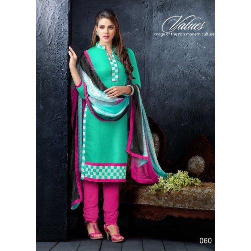 Shoponbit Latest Embroidered Chanderi Cotton Churidar Suit