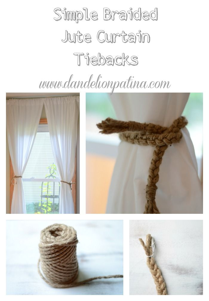 Beachy Farmhouse curtains. DIY jute tiebacks. How to make these for pennies! Simple Braided Jute Curtain Tiebacks    dandelionpatina.com