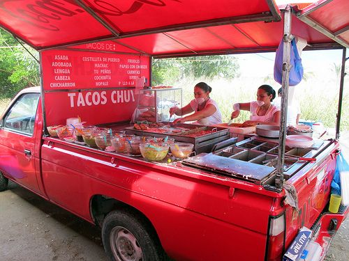 Even if you never thought of having a food truck-- for a salad bar or taco buffet, a truck concept may really work well. Even inside!