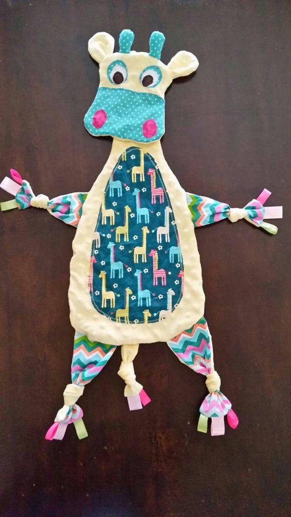 Free shipping! READY TO SHIP Giraffe, sensory blanket, blankie, lovey, baby shower gift, giraffe theme, minky security blanket