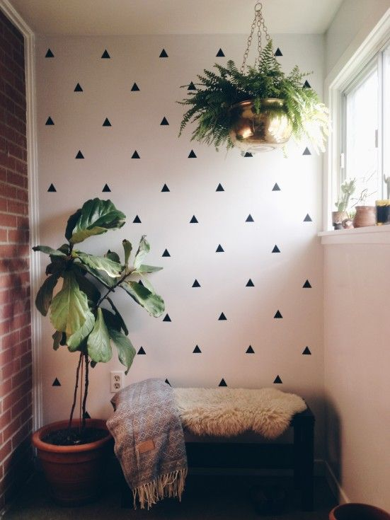 Mid Century Modern Mudroom #diy Wall Decals, Plants And Unique Storage Bins  To
