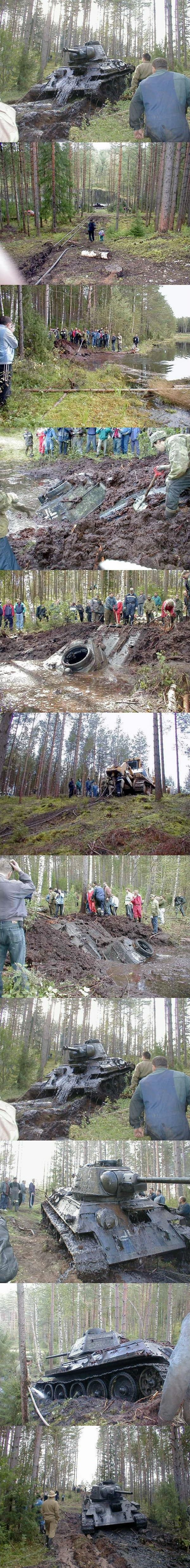 Soviet WW2 Tank With German Markings Pulled From A Lake in Estonia.