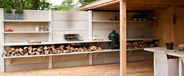 Tuin | Mooie buitenkeuken maken van eenvoudige betonnen schutting. Door zizzerz
