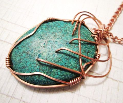 Copper Wire Wrapped Chrysocolla Pendant Necklace