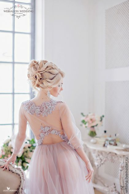 "Халаты ручной работы. Будуарное платье ""Smoky"". VESSSNA WEDDING. Ярмарка Мастеров. Свадебное платье длинное, свадебное платье короткое"