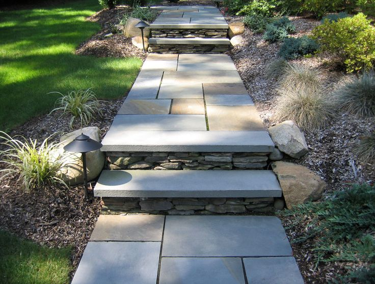 Bluestone Walkway Slab Steps And Path Lighting Front