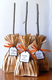 Broom Stick Treat Bags! So EASY! So cute for Classroom Halloween Goodies