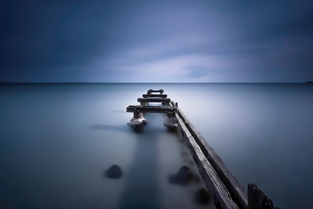 Parkdale Pier Moody Blue as it is titled otherwise found at Mentone beach. Purchase this print in a beautifully prepared frame.  http://www.nikartphotography.com/