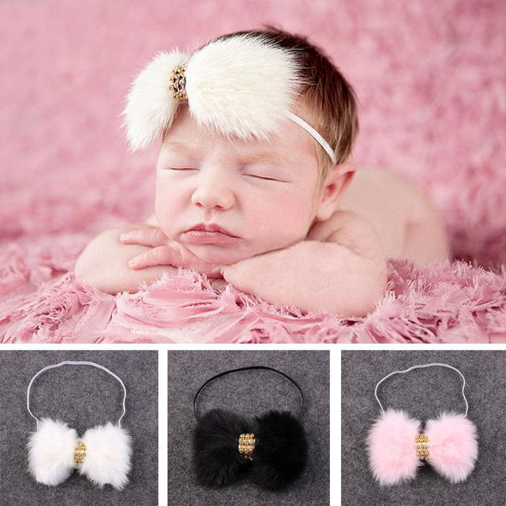 1PC Fashion Unisex Cute Girls Boys Autumn Winter Large Faux Rabbit Fur Bow Rhinestone Headband Headwear Hair Band Accessories
