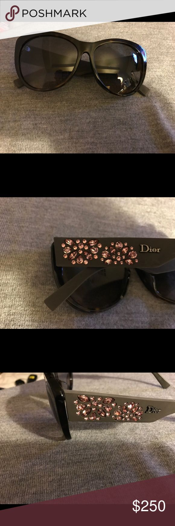 Dior Woman's Sunglass Havana Frame Pink Crystals Beautiful Fall/ Winter Sunglass to Complement your Browns Tans & Tweeds. The pink crystals give you just a touch of couture glamour. These sunglasses are stunning Dior Accessories Sunglasses