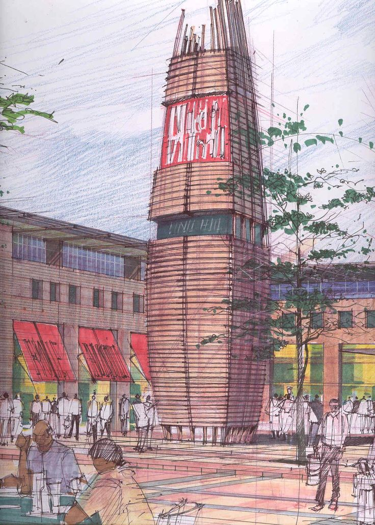 Fine liner, coloured pencil, markers on A1 cartridge. Retail precinct Botswana. Circa 1999.