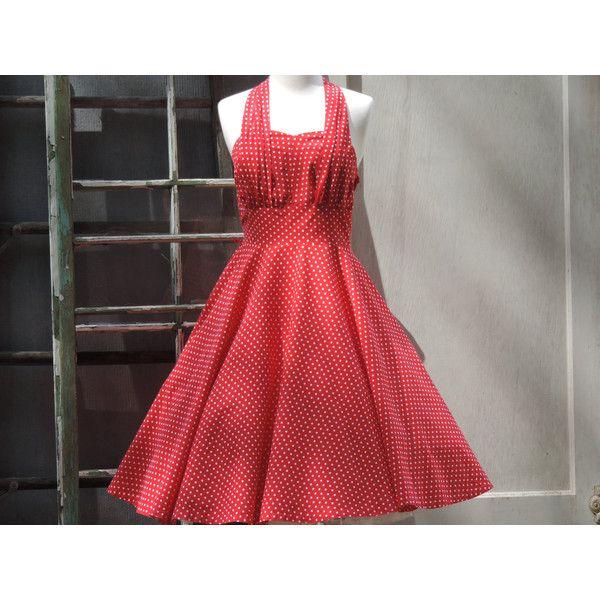Vintage Dress Sundress 1950s Red Polka Dot Halter Sun Dress 50s Red... ($180) ❤ liked on Polyvore featuring dresses, cotton summer dresses, halter sundress, red halter dress, red and white polka dot dress and cotton sundresses