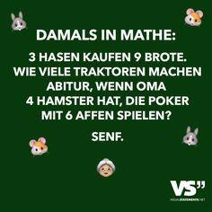 Damals in Mathe: 3 Hasen kaufen 9 Brote. Wie viele Traktoren machen Abitur, wenn Oma 4 Hamster hat, die Poker mit 6 Affen spielen? Senf.