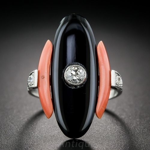 Art Deco Coral, Black Onyx and Diamond Ring