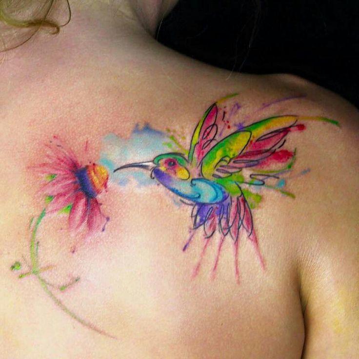 Girl female Hummingbird watercolor tattoo on shoulder