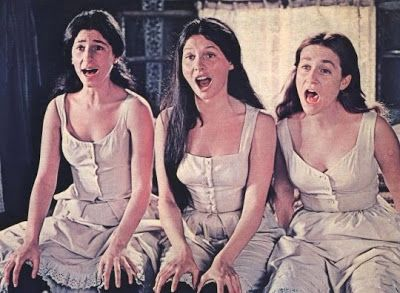 """Fiddler on the Roof (1971) Tzeitel (Rosalind Harris), Hodel (Michelle Marsh), and Chava (Neva Small) perform """"Matchmaker, Matchmaker"""" to make the right choices for their husbands."""